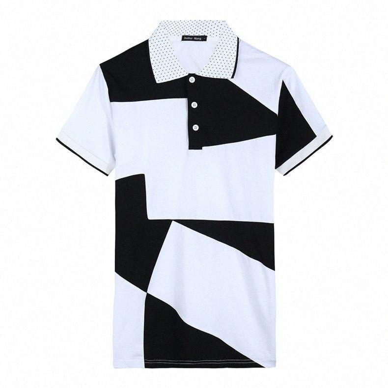Breve Shirt Estate Uomo Nero Bianco geometrico stampato Designer dimagriscono le camice di estate degli uomini di usura nt43 #