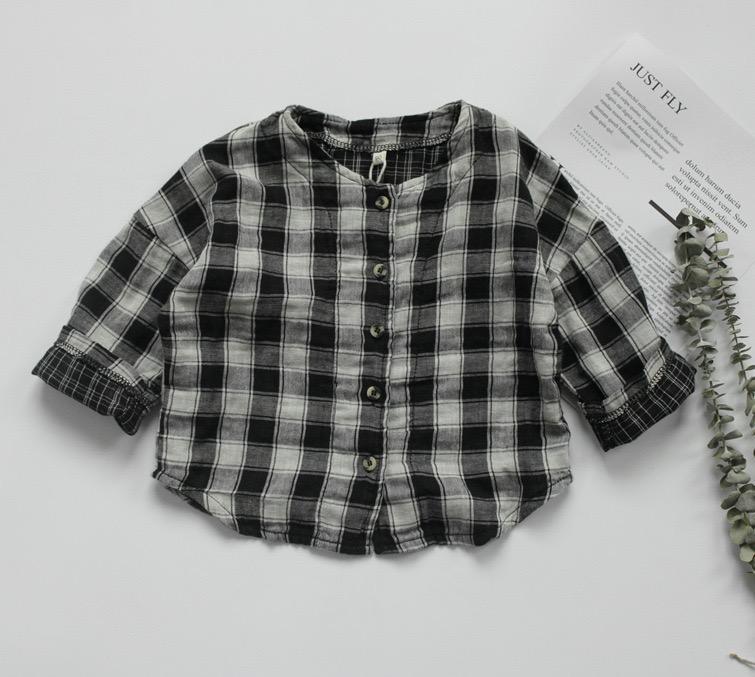 FM INS coréen Japon Enfants Filles Garçons Chemises à carreaux en coton bio Double Lin Qualité Automne Princesse enfants Hauts