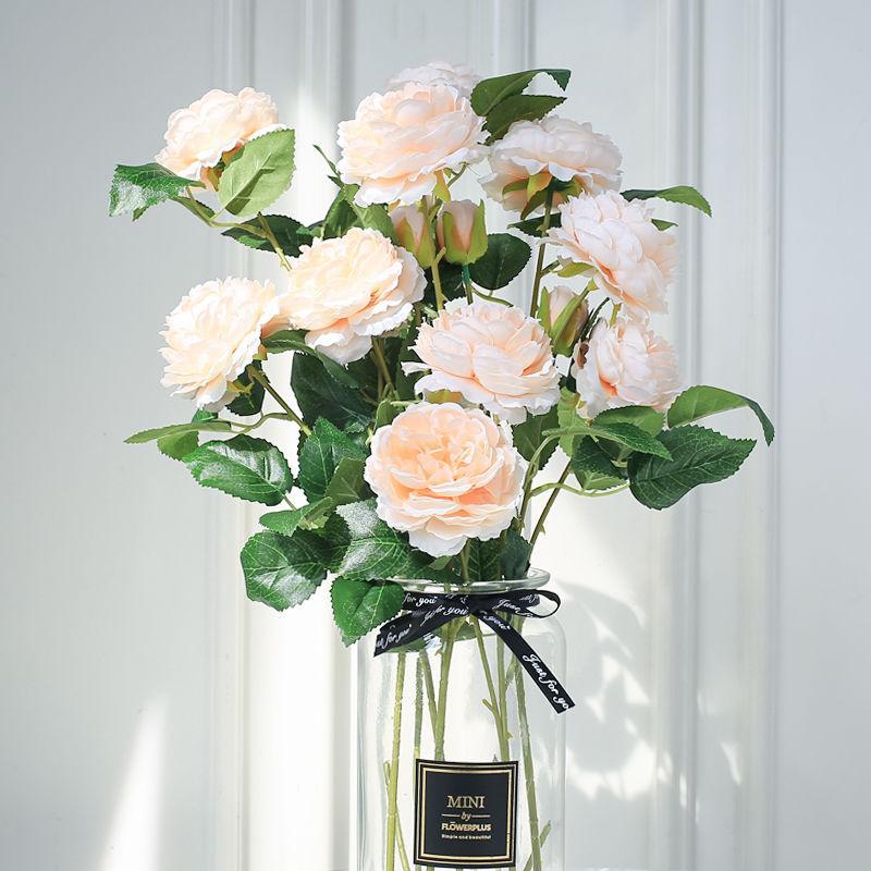 2 pezzi pressati Fiori Artificiali Peony Interni Soggiorno Wedding Decoration Fleurs artificielles En Soie Alta Qualità