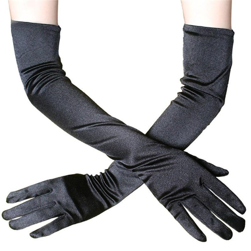 Элегантные длинное платье перчатки атласные перчатки Fun ужин Performance One Pair 30MY06