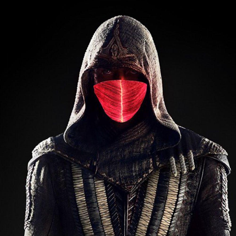 100pcs LED Işık Rave kadar Maske Tasarımcı Yüz Parti Festivali Dans Hediye DHL Kargo için de uzun ömürlü Yüz Maskesi Aydınlık Parlayan Maskeler Maske
