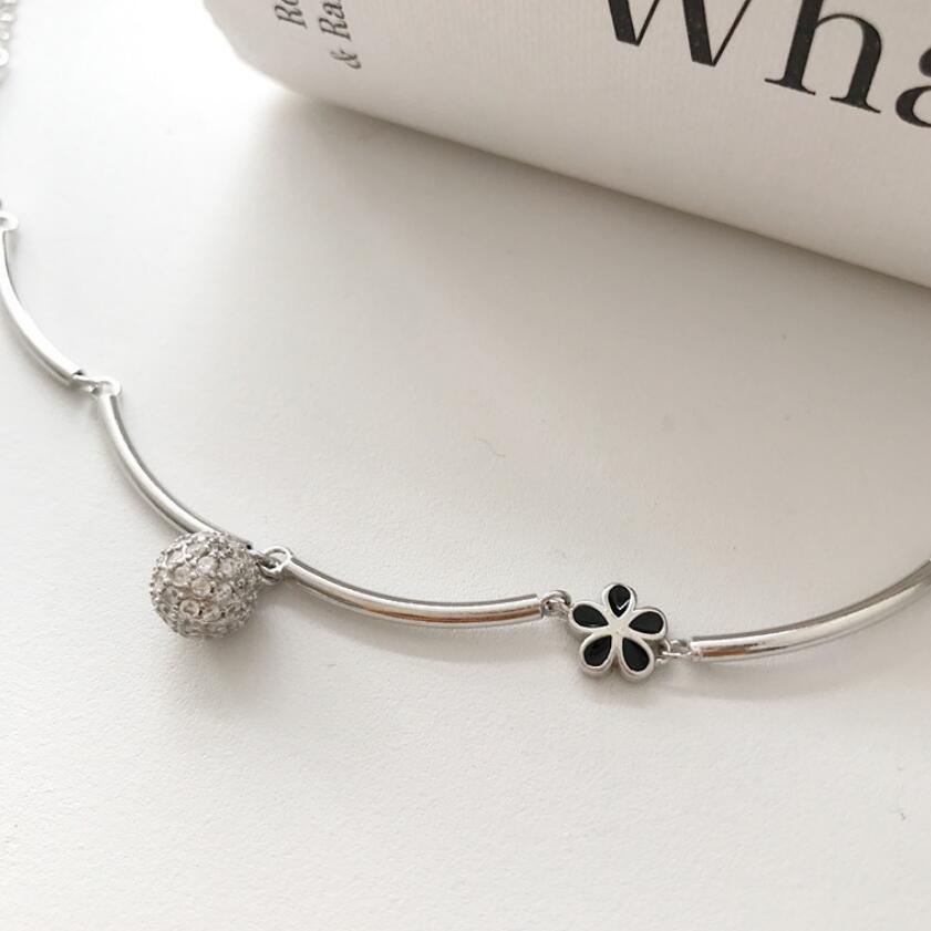ювелирные изделия S925 стерлингового серебра браслеты мини-лепестки маленький шарик кулон браслеты для женщин горячей моды