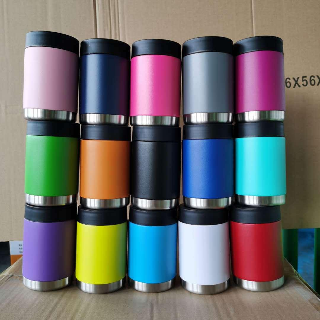 12oz many Colors Coke Cans Water Bottle Stainless Steel Tumblers Coffee Mugs Milk Vacuum Cup with Lid