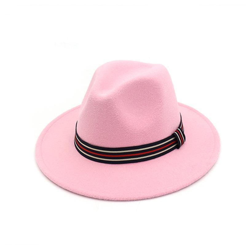 حافة واسعة القبعات الرجعية الرجال النساء فيدورا قبعة مع ساتان مخطط السفر في الهواء الطلق عارضة