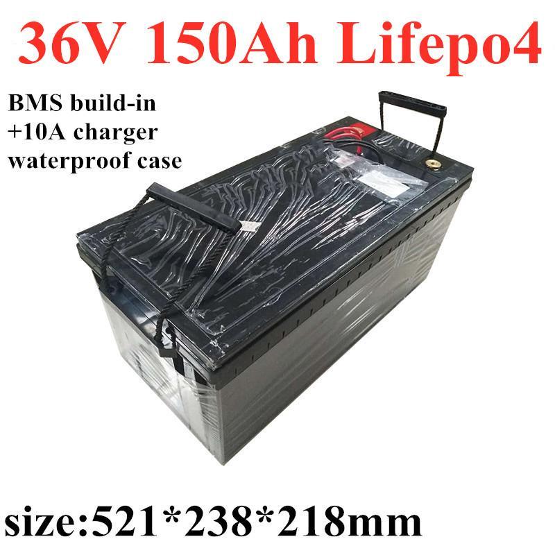 golf arabası güneş sistemi scooter pil + 10A şarj Pil paketi lifepo4 GTK su geçirmez Şarj edilebilir pil 36V 150ah