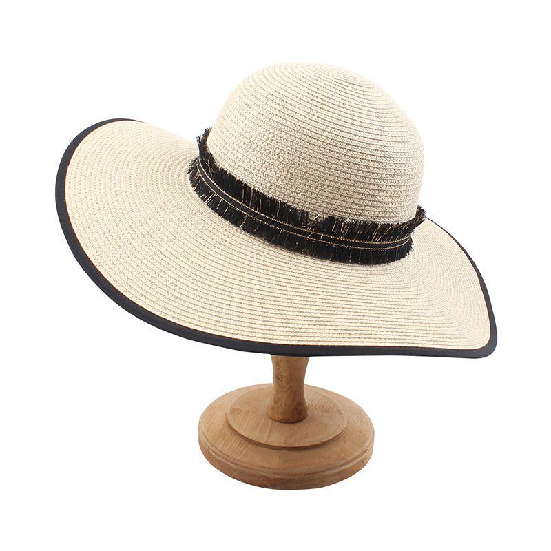 Женщины Соломенная шляпка 2020 Summer Sun Hat кисточкой Бич ВС Летний Cap Сыпучие Солнцезащитный Зонт купола Cap Козырьки Шляпы женщина