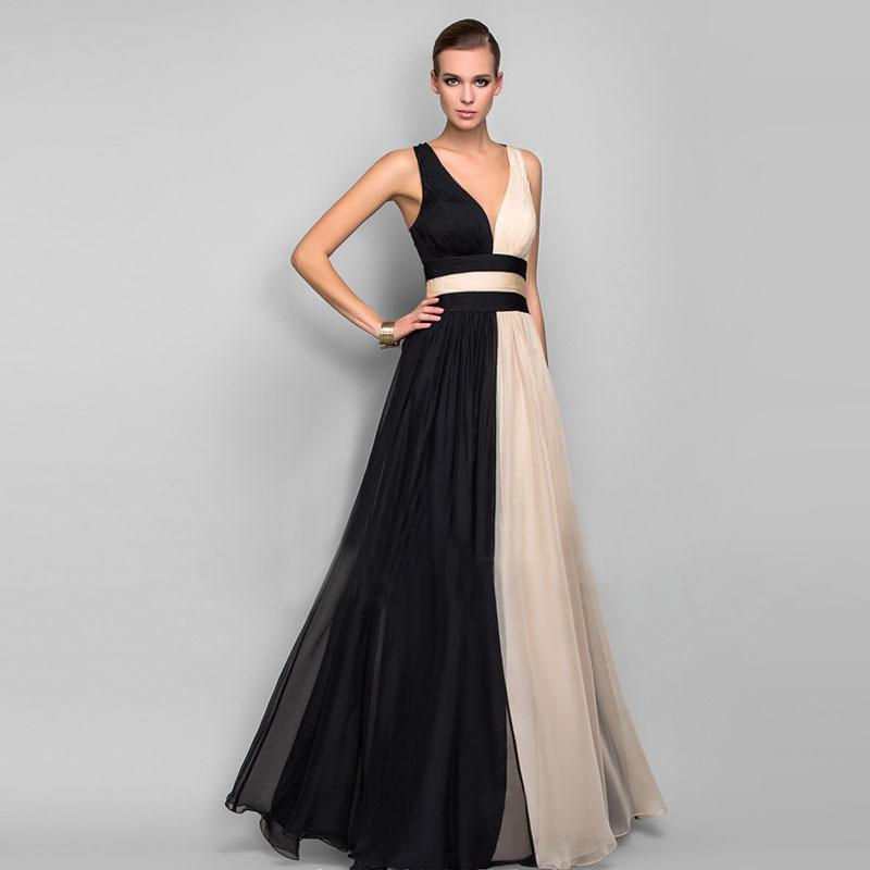 Шифон женщин вечернее платье Sexy-линии V-образным вырезом без рукавов Формальное вечернее платье черно-белое изображение Узелок Sexy Back платье на складе
