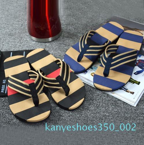 Hot Selling Fashion Men Summer Stripe Flip Flops Shoes Sandals Male Slipper Flip-flops EVA Mixed Colors Flat with Shoes 2020 k03