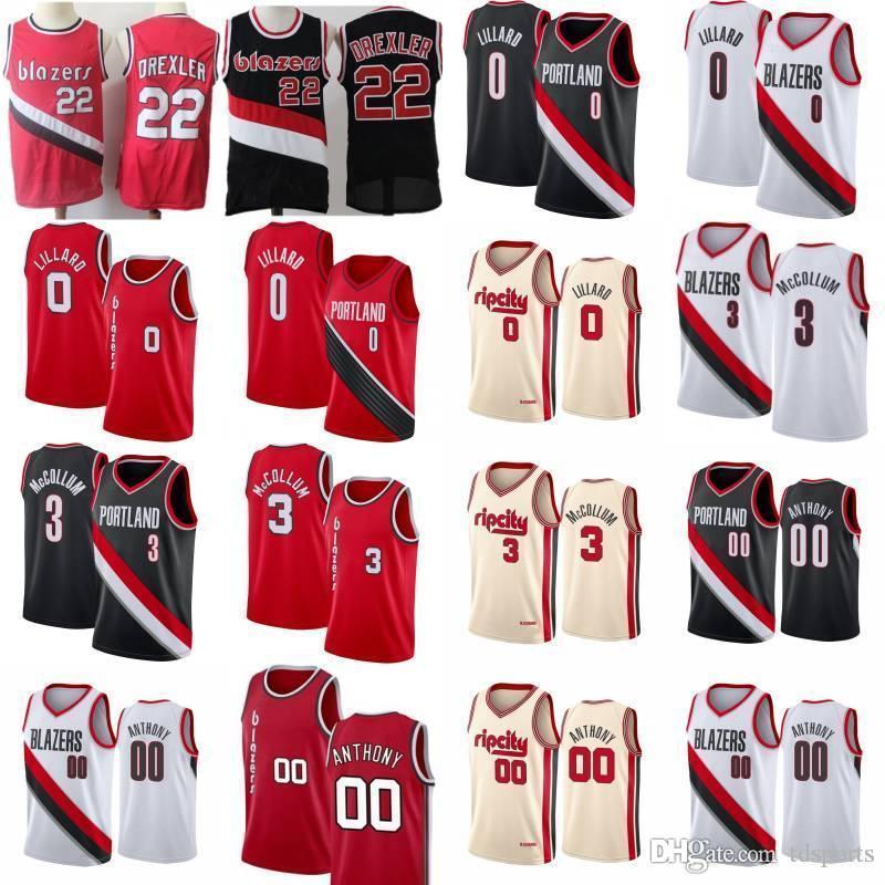 Clyde 22 Drexler Carmelo Anthony 00 Basketball Jersey Mens Damian 0 Lillard CJ 3 McCollum Rip-Stadt-Hemd
