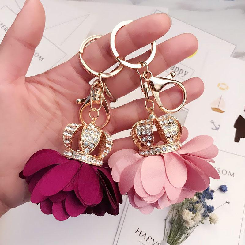Fábrica de venta directa moda Geomantic diamante llavero simple encantador coche de la flor llavero del colgante del bolso