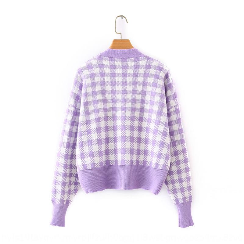 b6hE3 -Korean women's clothing 2020 Fall/Winter New V-neck Plaid lazy three-button style for sweater sweater cardigan women