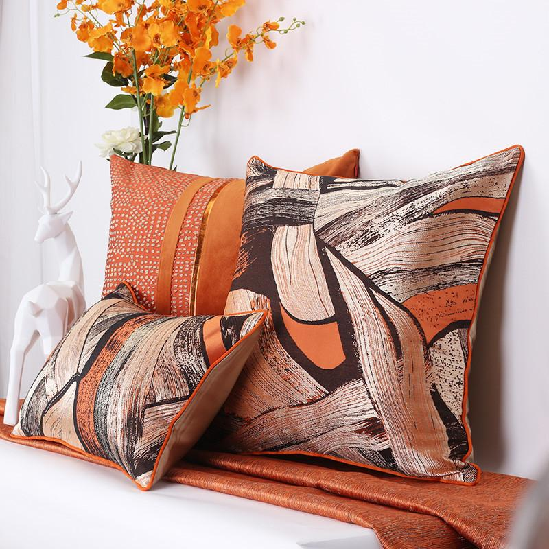 França elegante Pillow Cushion Cover Orange Abstract Pintura almofadas decorativas Cores Almofadas Covers Almofadas Cojines