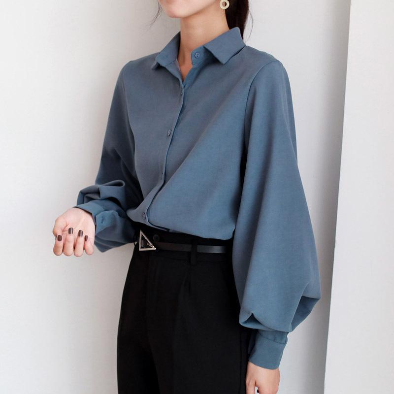 Kadın 200924 Tops Bayanlar Fener Kol Bluz Gömlek Kadınlar Sonbahar Kış Casual Ofis Lady Çalışma Bluz Katı Vintage Bluz Gömlek