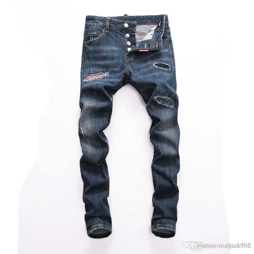 2019 2020 son İtalyan erkekler oyuk kaliteli kot hip hop logosu tasarımcı pantolon erkek yeni wx009