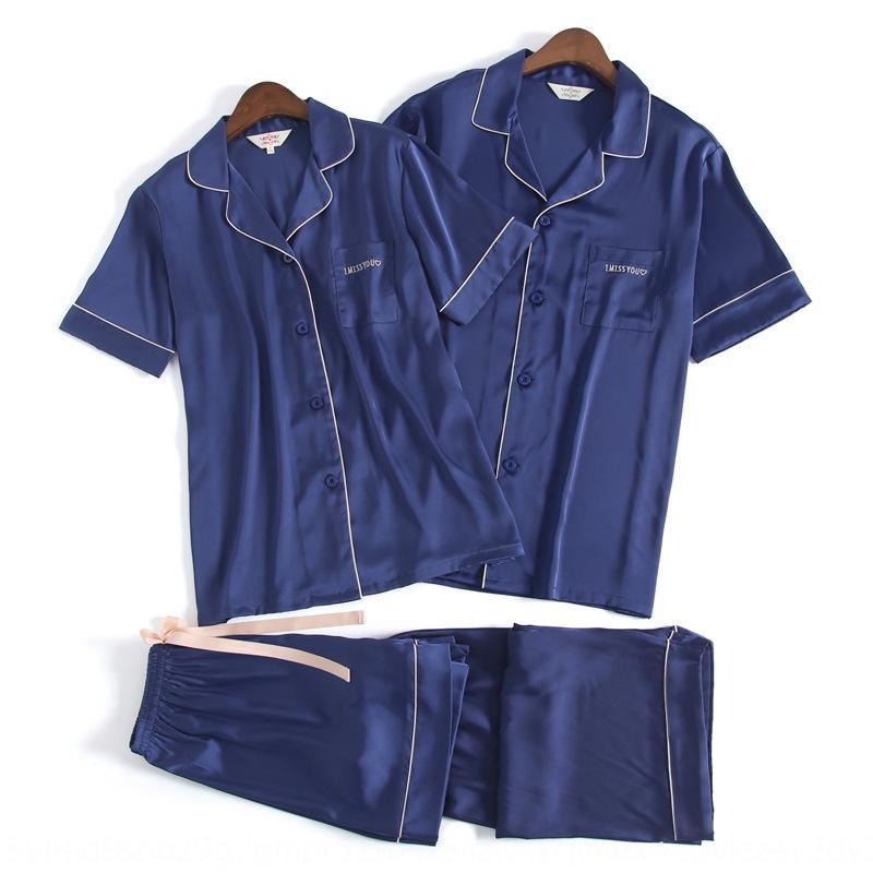 2020 Yaz pijama yeni buz ipek kumaş çift pijama büyük versiyonu rahat rahat sıcak basit iki parçalı ev giysileri