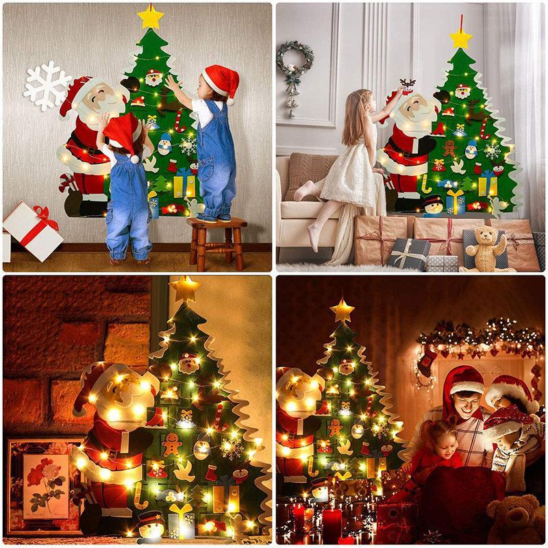 Neujahr DIY Felt Weihnachtsbaum mit 26pcs Abnehmbare Verzierung Wand Ornamente Geschenk für Kinder Wohnkultur Hanging