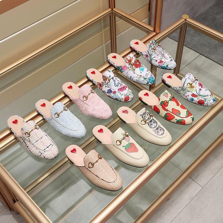 Дизайнер Princetown серии из натуральной кожи Тапочки Люкс Muller обувь Женская обувь Тапочки Bee Flower Star Женская обувь мужчины крупногабаритные