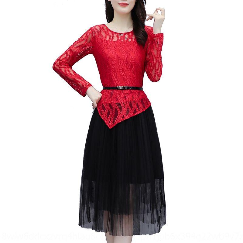 Bpqbv jYZDx femminile 2020 il nuovo merletto sottile delle donne del vestito di pizzo abito stile minoranza autunno donne occidentali francesi