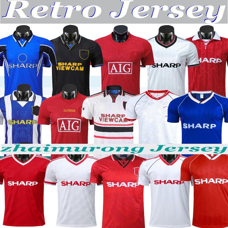 Retro Man 84 84 86 88 07 08 90 91 92 93 93 94 98 Beckham Cantona Final Match Home Away Soccer Jersey 1998 Ronaldo Keane Giggs Football Jersey