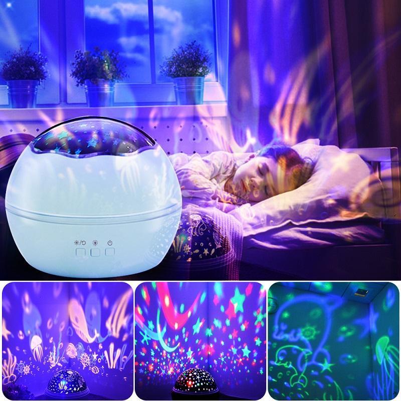 Neue bunte LED-Nachtlichtprojektor Sternenhimmel-Stern-Projektor-Kind-Kind-Baby-Schlaf Romantische LED USB-Lampe Projektions-Licht