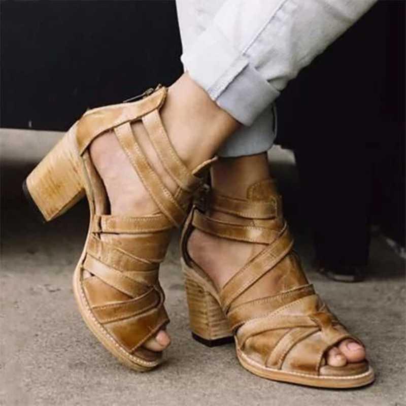 Moda Mulheres Tampa Heel Sandals Feminino da bracelete Chunky Sandálias sapatos de salto