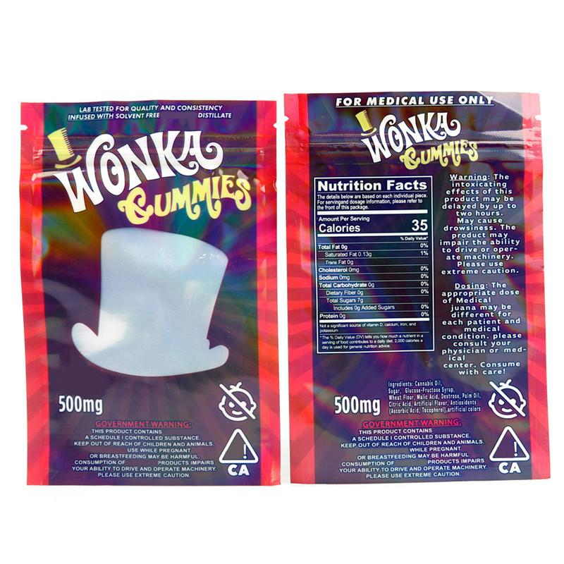 Kuru ot Tütün için Wonka gummies Mylar Kılıfı 500mg Boş Fermuar ambalaj torbası Edibles Depolama Perakende Çantası