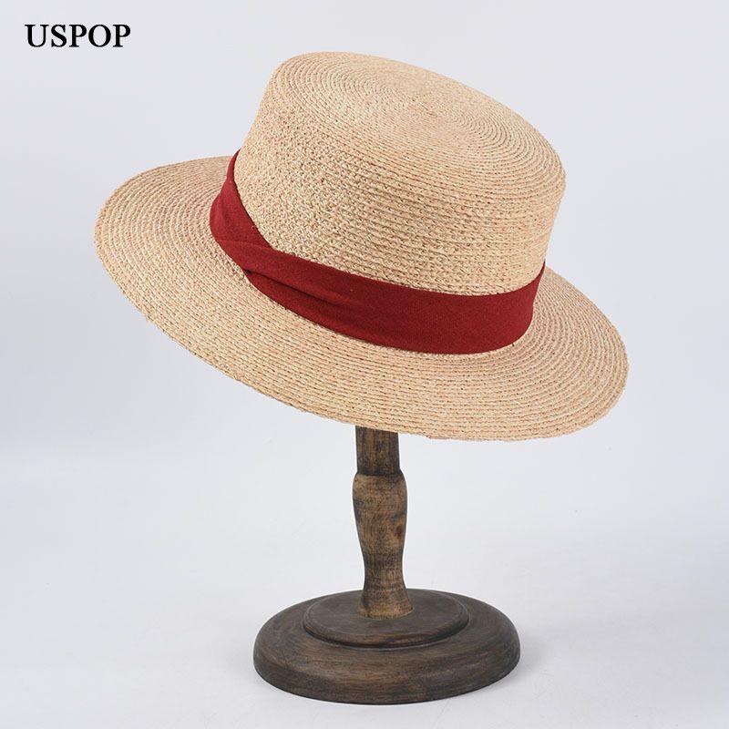 USPOP новых естественные рафий солнца шапка летние соломенные шляпы сплошного цвет лук лента плоский пляж