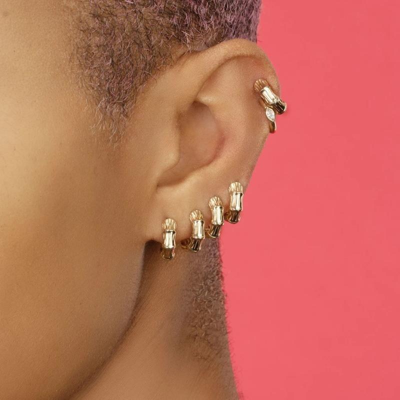 Fashion Geometric Kleine Band-Ohrringe Frauen Männer Trendy Goldfarbe Thick runder Kreis Huggie Ohrringe Cartilage Schmuck 2020