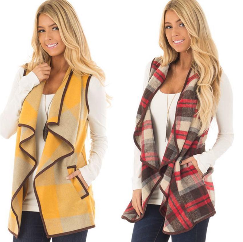Kadın Kış Buffalo Ekose Yelek Ceket Hırka Cep Yelek Coat Düzensiz Kolsuz Dış Giyim Yelek KKA8045 Kontrol