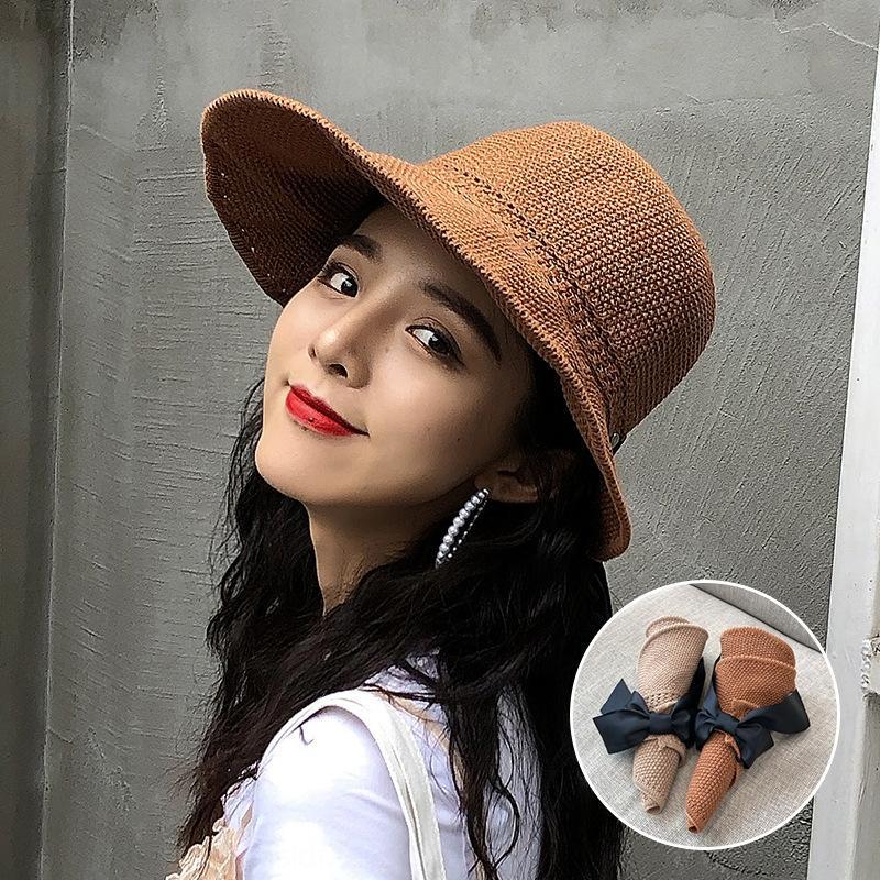 Butterfly'nın saman güneş UV geçirmez katlanabilir güneş şapkası hasır şapka yay 2020 yeni hava-üstü kadınların yaz