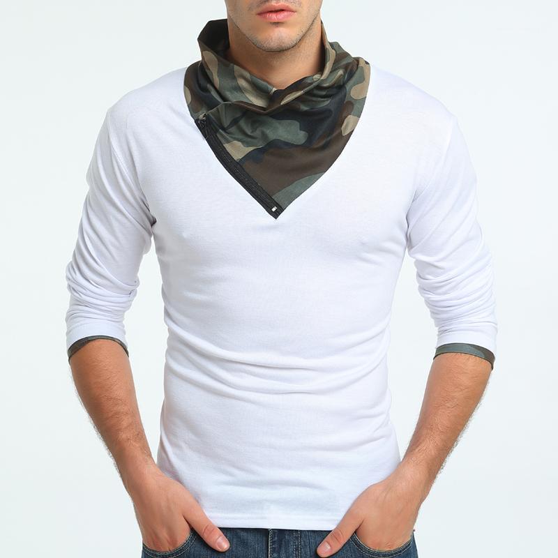 Designer magliette Moda Slim camuffamento del collo solido a maniche lunghe di colore maglietta autunno Mens maglietta casuale del Mens di stile