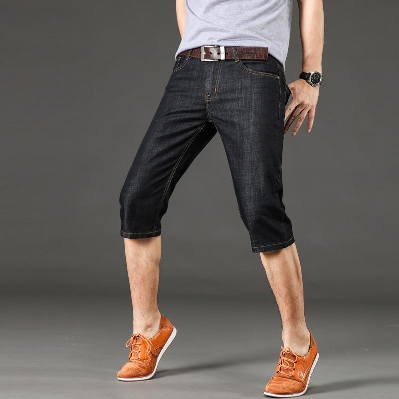 nVByY Sommer gerade für Männer Denim Caprihosen Art und Weise br slim-fit gewaschen Männer der koreanischen Art und Jeans Shorts und Jeans-Shorts Jugend lässig