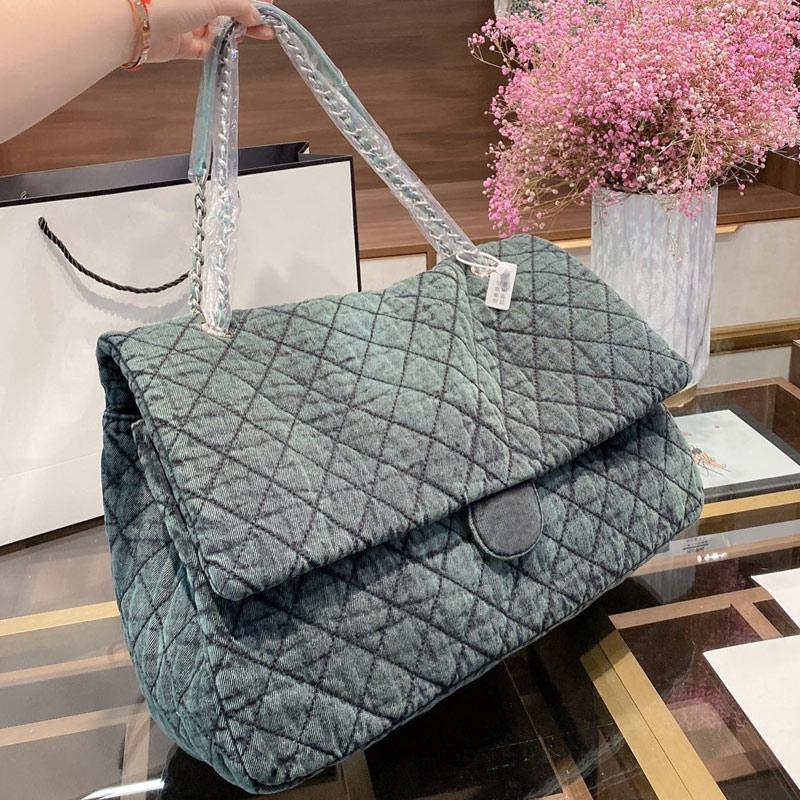 핸드백 지갑 대용량 패키지 캔버스 가방 패션 다이아몬드 격자 높은 품질 여성 체인 숄더 백 그라데이션 컬러 Patchwor의 30cm