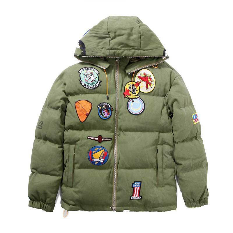 Fahison Mens Coat 20FW Мужская одежда Верхняя одежда Куртка с капюшоном Shark Head Вышивка сгущает Cotton ветровки Top Green Color Размер: M-2XL