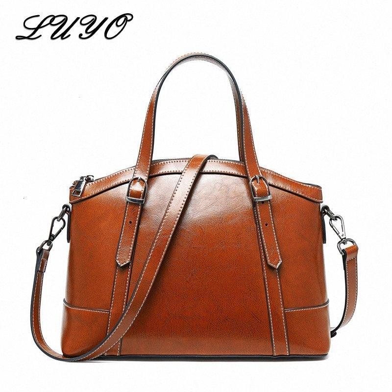 Handtaschen-Frauen-Taschen Female Vintage-echtes Leder-Schulter-Beutel-große Kapazitäts-Totes Umhängetaschen für Damen Damen IpKL #