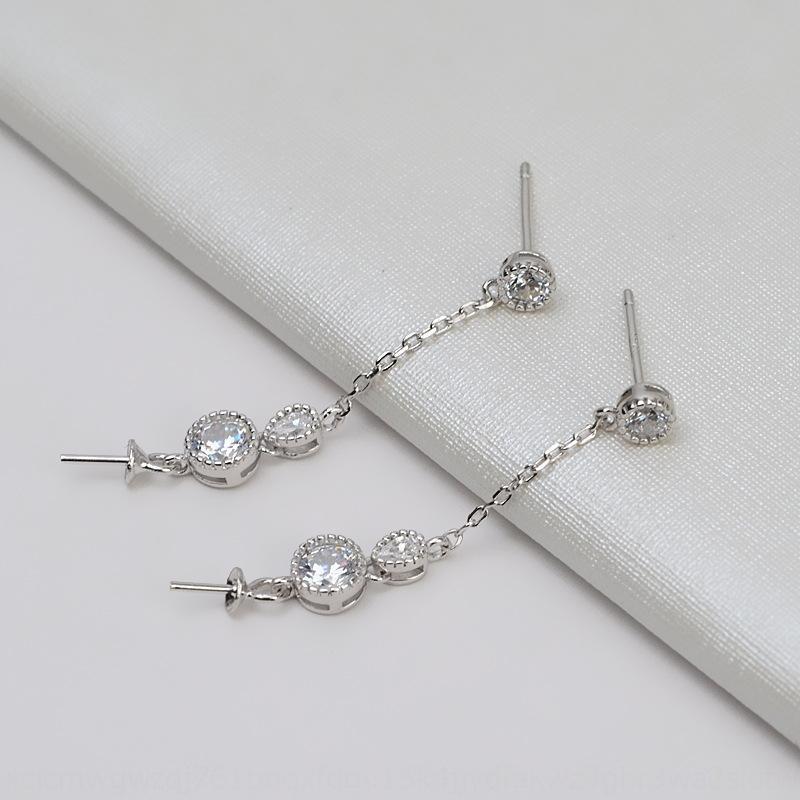 L8pQT ручной EAR жемчужные аксессуары Pearl аксессуары снежинка поделки нить Diy серебряные серьги длинные серьги кисточкой S925 пустой поддержки N9Ig8