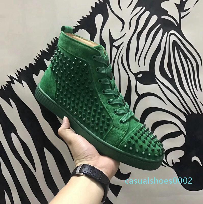 Diseño de lujo verde de los diseñadores clásicos zapatos rojos zapatos de lujo de fondo Moda Marca tachonado Spikes plana de zapatos de lujo de 7 colores C02