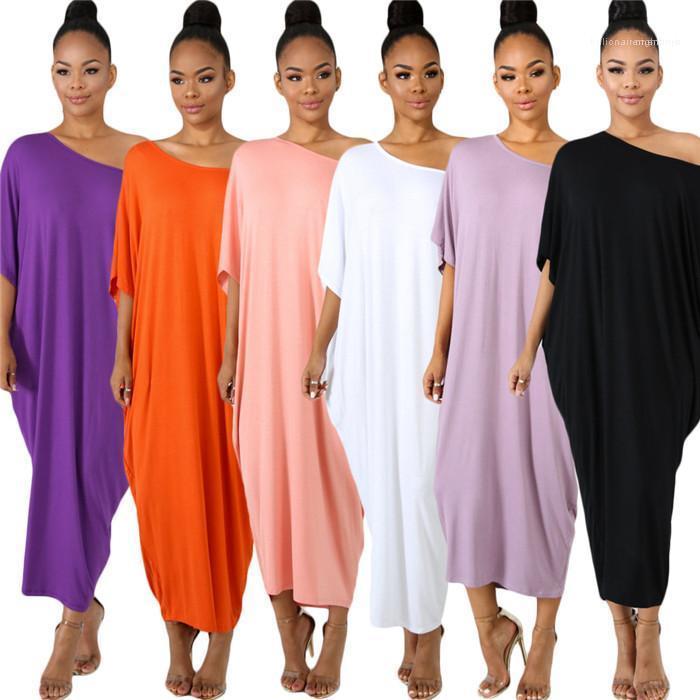 Sumemr Fahion Kleidung der Frauen weg von der Schulter Kleid Batwing Ärmel loser Normallack beiläufiges Kleid Famale