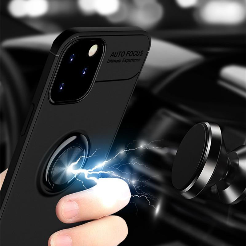 Shockproof TPU Case For iphone 12 11 pro max XS 8 Plus 7 Plus 6S Magnetic Car Metal Ring Holder Combo Phone Cover