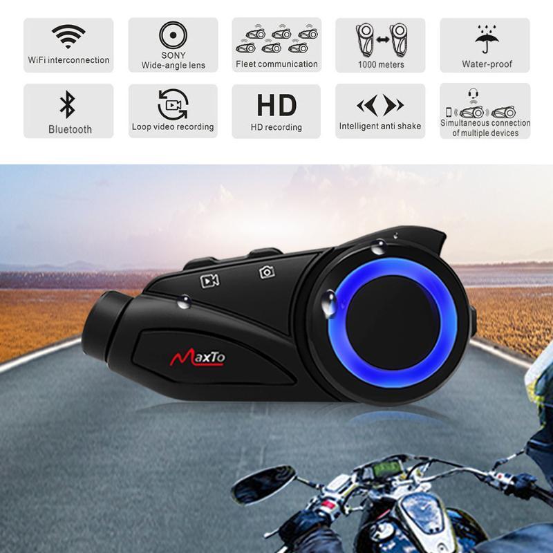 Group 6 Riders 1000m Moto Helmet Headset Bluetooth WIFI Recorer Helmet Intercom HD Video Recording Camera with HD 1080P Lens
