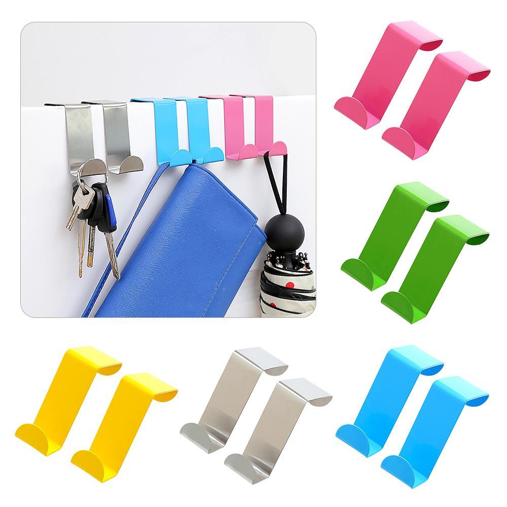 2pcs / Set coloré crochets porte tiroir Cabinet en acier inoxydable Cintre serviette Accessoires Porte