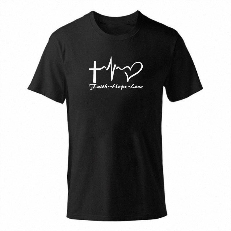 Kreuz-T-Shirt der Männer Faith Hope Love Letter Druck aus 100% Baumwolle T Shirts Sommer-Stück Male Boy-T-Shirt Tops Short Sleeve Jesus Christian 7oxG #