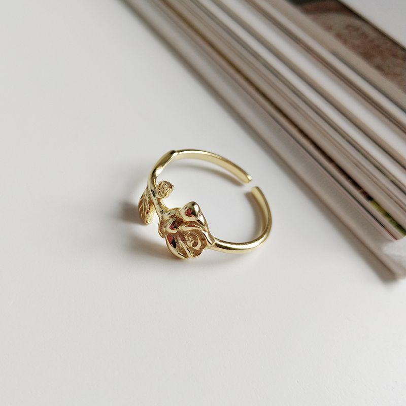 Tamaño ajustable anillo abierto la flor de Rose SUPERAINBOW 925 para la joyería anillo de plata al por mayor de oro de las mujeres SR-R11