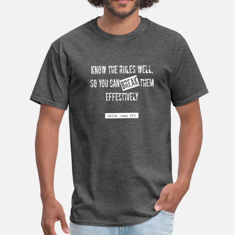 Kısa Kollu boyut S-3XL Standart Spor Otantik yaz Benzersiz gömlek kişiselleştirilmiş Kurallar Dalay Lama Alıntı t gömlek erkekler kırın