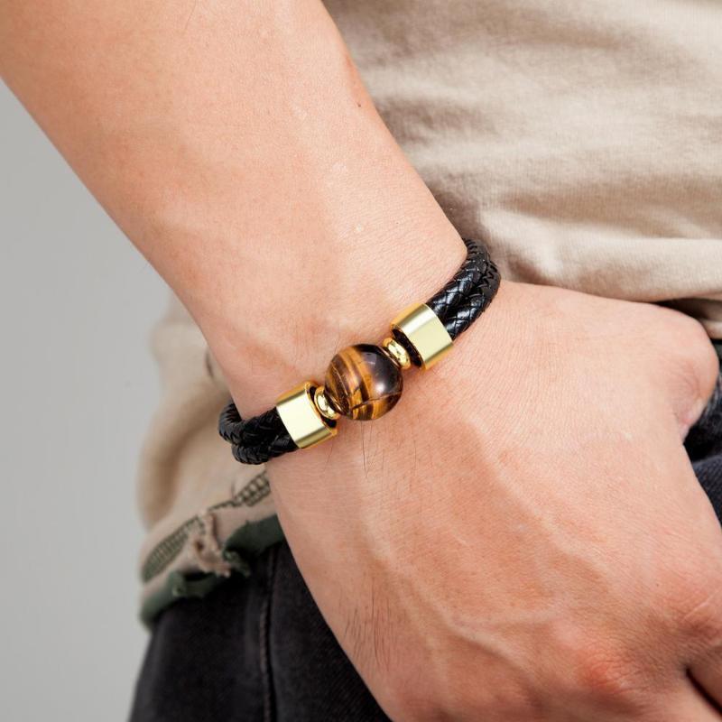 2020 Classic Double bracelet en cuir véritable Naturel rond Tiger Eye Pierre Hommes Bracelets en acier inoxydable Mens Bijoux