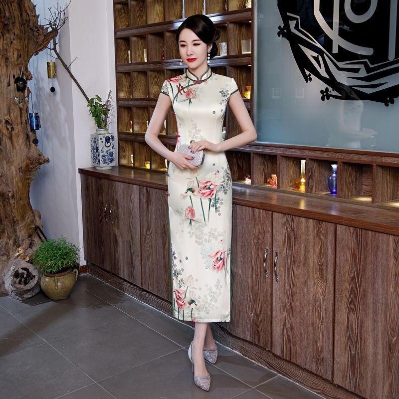 Çin Tarzı Resmi elbise cheongsam Kadınlar İpek Saten Uzun Qipao Vintage Zarif Baskı Çiçek cheongsam