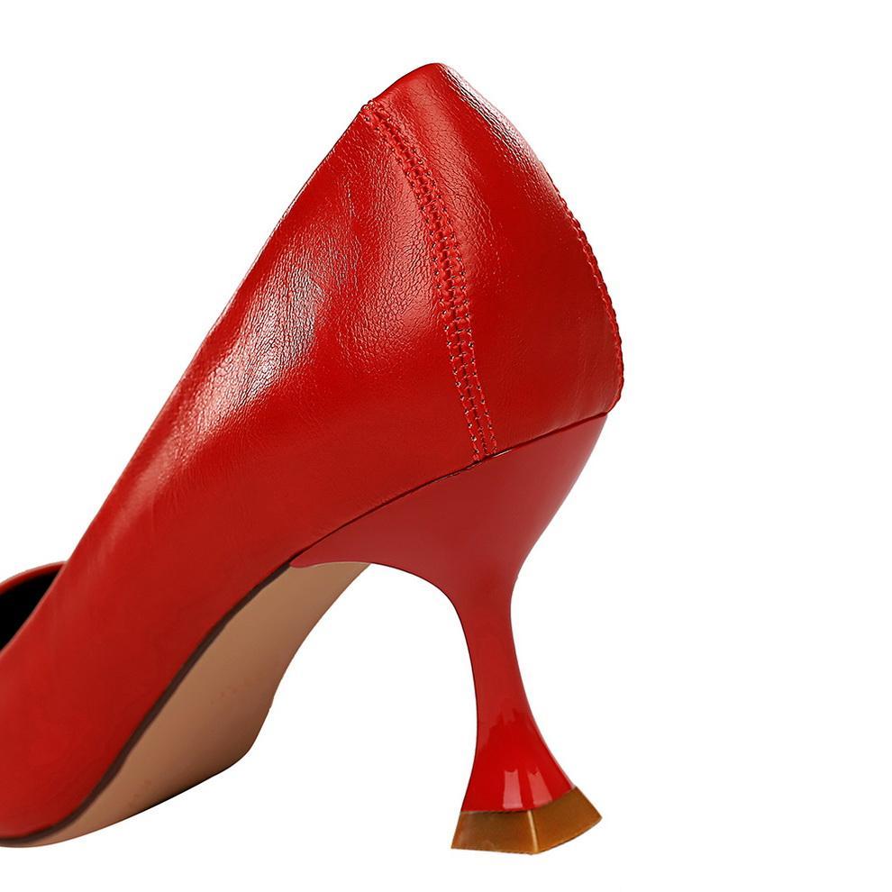 Donne 7 cm tacchi alti pompe punta a punta di lusso elegante gattino basso tacchi scarpins lady ball stilotto rosso moda ufficio scarpamultazione