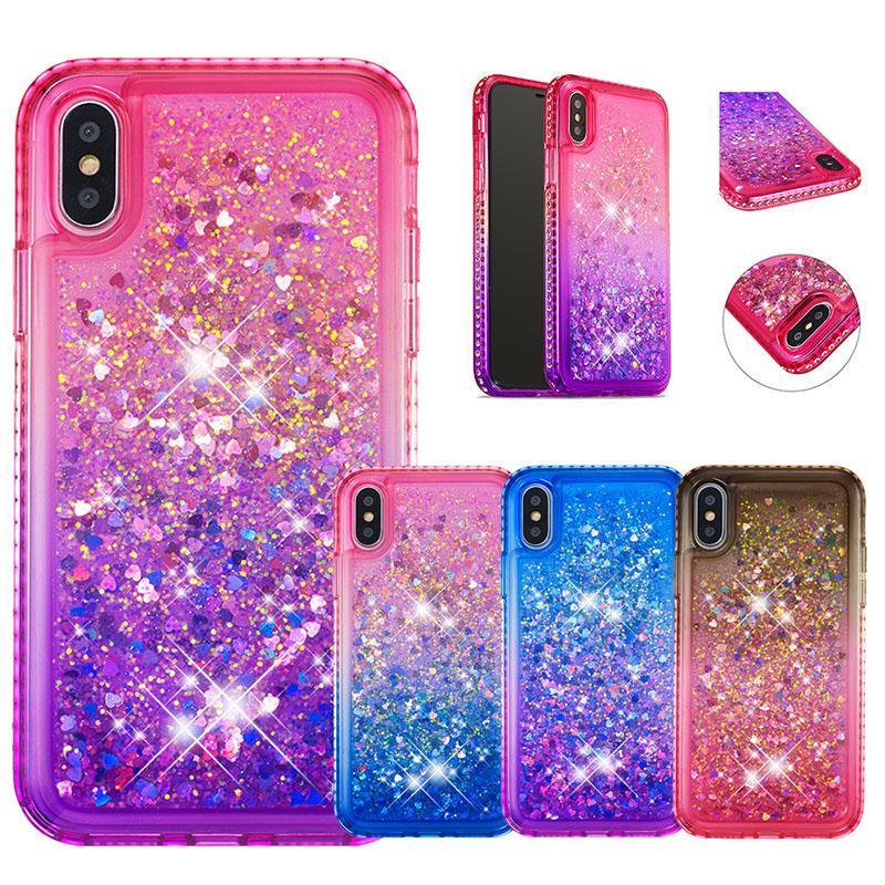 caixa do telefone para iphone X XS XR XS MAX Gradiente brilho cor areia movediça caso TPU macia para o iPhone 6 6S 7 8plus volta conque