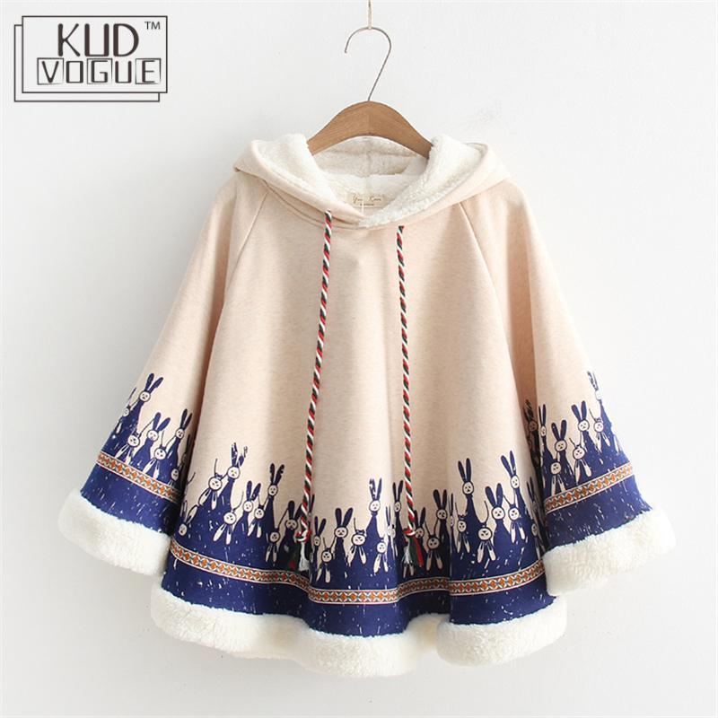 Sonbahar Kalınlaşmak Kadınlar Cloak Güzel Palto Pamuk Fleece Cape Japanese Style Mori Kız Kış Coat Tavşan Kulak Hoodie Dış Giyim Y200917