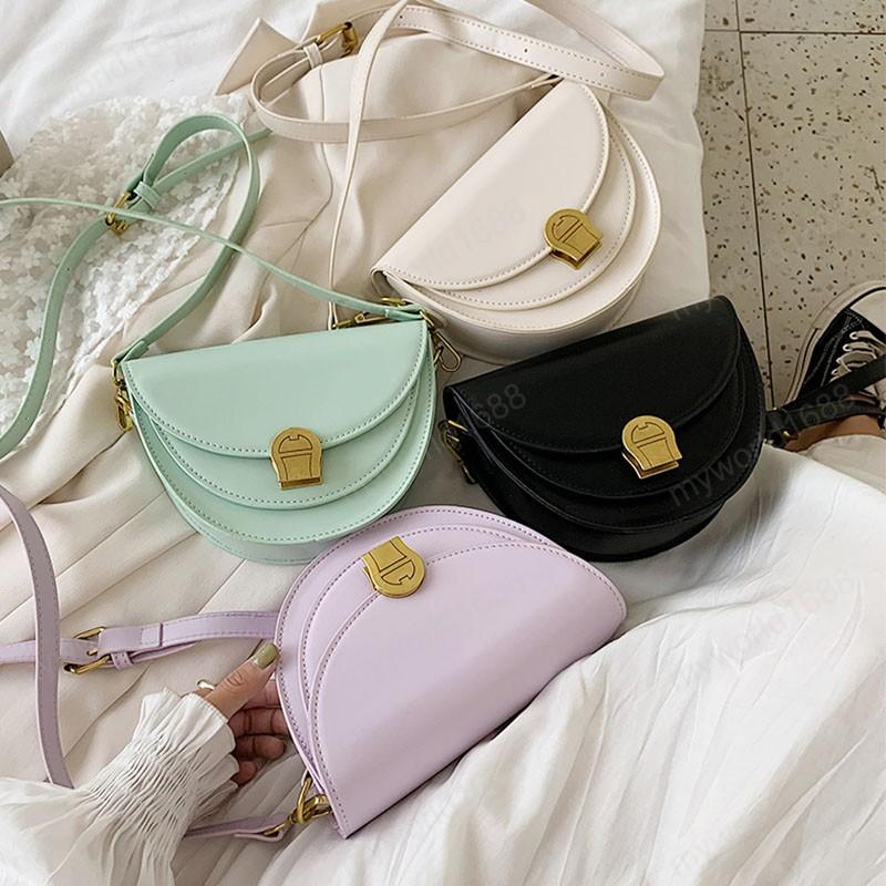 New Fashion Bag Sillín de cuero simple para mujeres Color Pequeño Hombro salvaje Pohlv PU PU Bolsos Sólidos Bolsos Crossbody Femenino Elegante Qhded